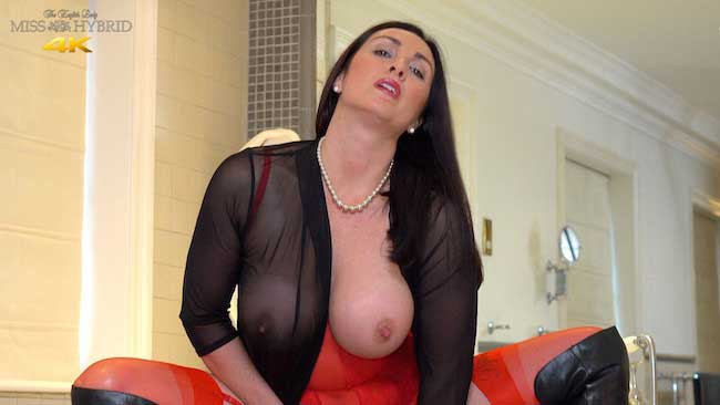 Miss Hybrid big tits hard nipples stunning red lingerie and leather thigh boots.