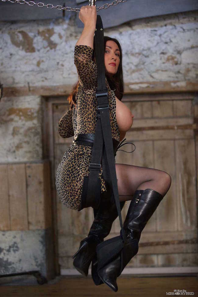 Leather boots seamed stocking, Miss Hybrid tits out legs open on the swing.