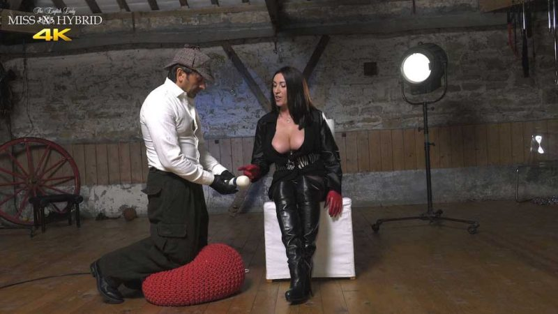 Leather thigh boots instruction Miss Hybrid boots, gloves and leather bra in the dungeon.