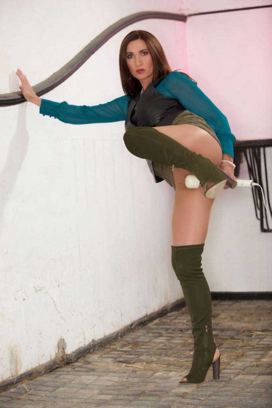 Miss Hybrid sexy pantyhose and thigh boots.